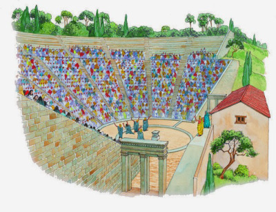ANCIENT Greek THEATRE - ILLUSTRATION